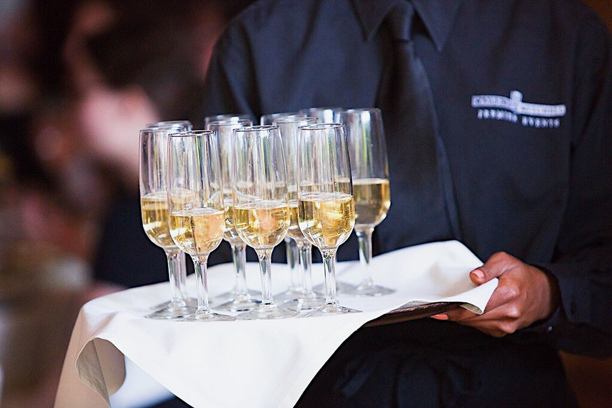 Champagne served on a tray