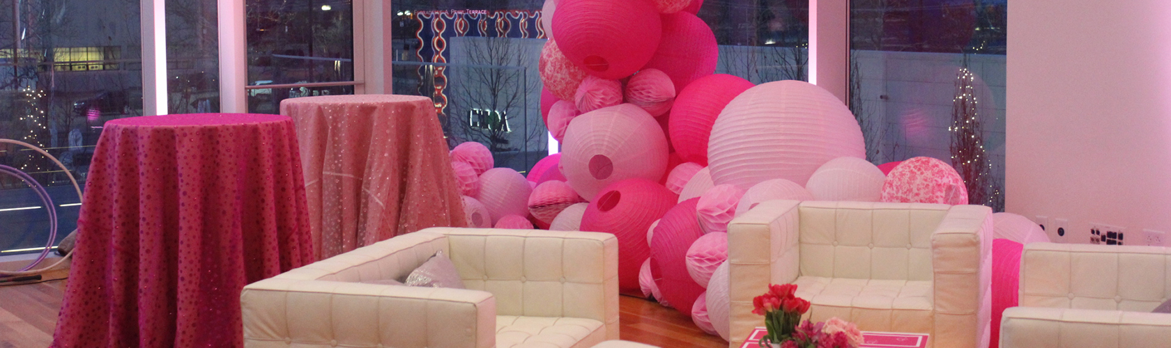 Venue vibrantly decorated for an event